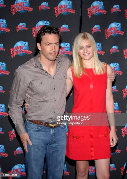 Andrew Shue and Carly Schroeder during Andrew Shue and Carly Schroeder Donate Memorabila From Their Movie 'Gracie' to Planet Hollywood at Planet...