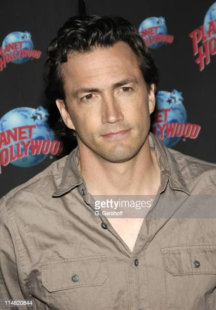 Andrew Shue during 'Gracie' Cast Members Carly Schroder and Andrew Shue Donate Memorabilia to Planet Hollywood at Planet Hollywood in New York City...