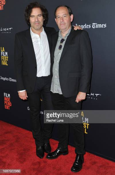 Andrew Slater and Daniel Braun arrive at the 2018 LA Film Festival opening night premiere of Echo In The Canyon at John Anson Ford Amphitheatre on...