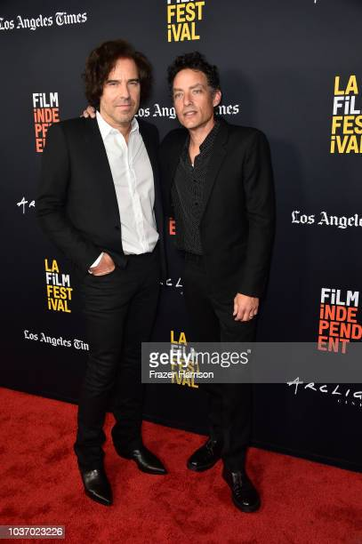 Andrew Slater and Jakob Dylan attend the 2018 LA Film Festival Opening Night Premiere Of 'Echo In The Canyon' at John Anson Ford Amphitheatre on...