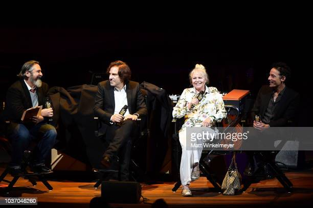 Andrew Slater Michelle Phillips and Jakob Dylan speak onstage during the 2018 LA Film Festival opening night premiere of 'Echo In The Canyon' at John...