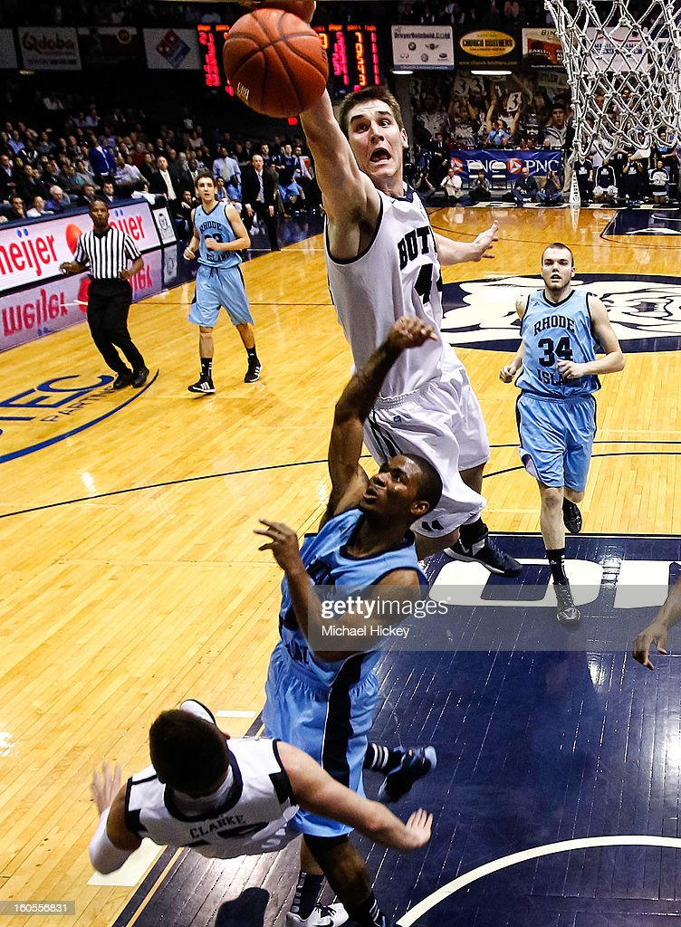 Andrew Smith #44 of the Butler Bulldogs goes up to block the shot of Mike Powell #1 of the Rhode Island Rams at Hinkle Fieldhouse on February 2, 2013 in Indianapolis, Indiana. Butler defeated Rhode Island 75-68.