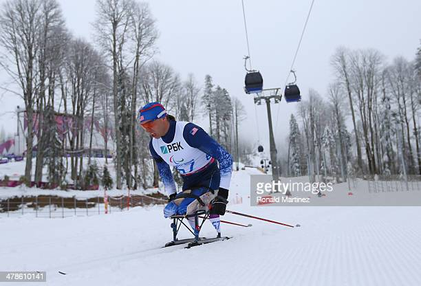 Andrew Soule of United States competes in the Men's 125km Sitting Biathlon during day seven of Sochi 2014 Paralympic Winter Games at Laura...