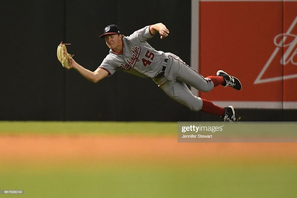 Andrew Stevenson #45 of the Washington Nationals makes a diving catch in the fifth inning of the MLB game against the Arizona Diamondbacks at Chase Field on May 11, 2018 in Phoenix, Arizona.