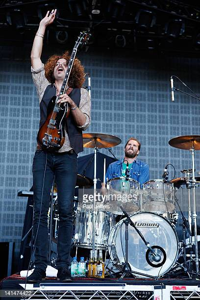 Andrew Stockdale from Wolfmother performs during F1 Rocks Melbourne at Sidney Myer Music Bowl on March 17 2012 in Melbourne Australia
