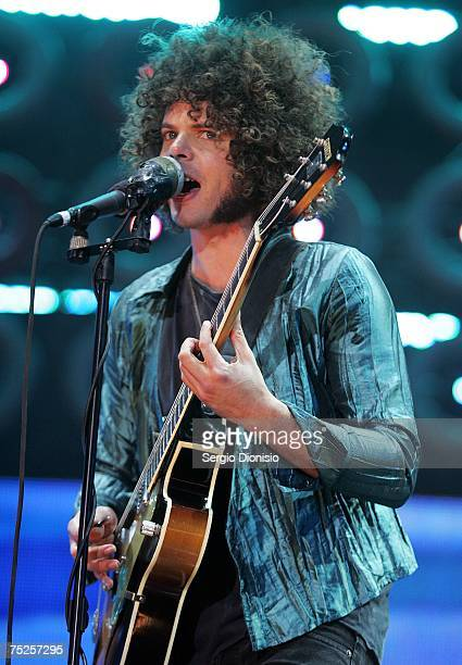 Andrew Stockdale of Wolfmother performs on stage at the Australian leg of the Live Earth series of concerts at Aussie Stadium Moore Park on July 7...