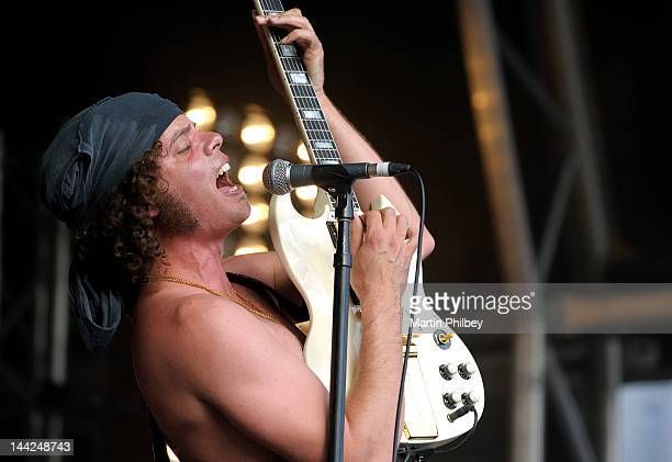 Andrew Stockdale of Wolfmother performs on stage at the Melbourne Big Day out at Flemington racetrack on Sunday 30th January 2011 in Melbourne...