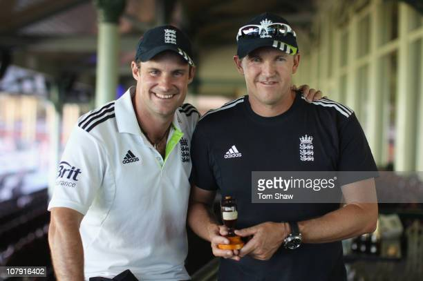 Andrew Strauss and Andrew Flower of England pose with the Ashes Urn after winning the match and the series 31 during day fiveof the Fifth Ashes Test...