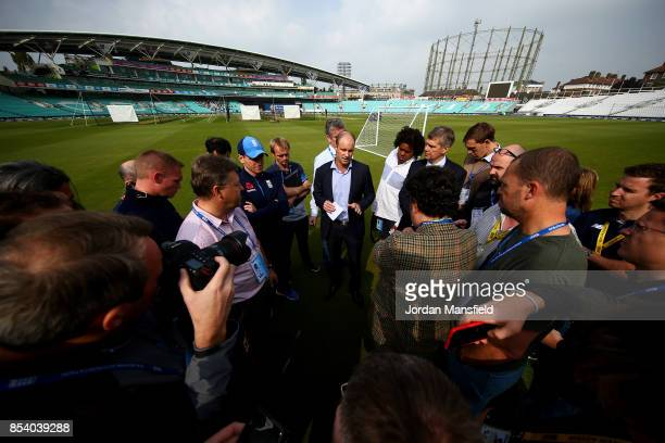 Andrew Strauss and Eoin Morgan of England deliver a statement to the press on the arrest of Ben Stokes of England during the England West Indies Nets...