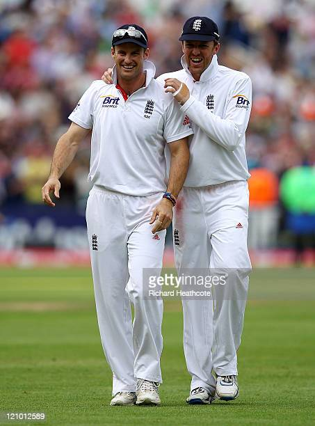 Andrew Strauss and Graeme Swann of England walk off following their team's victory during day four of the 3rd npower Test at Edgbaston on August 13...