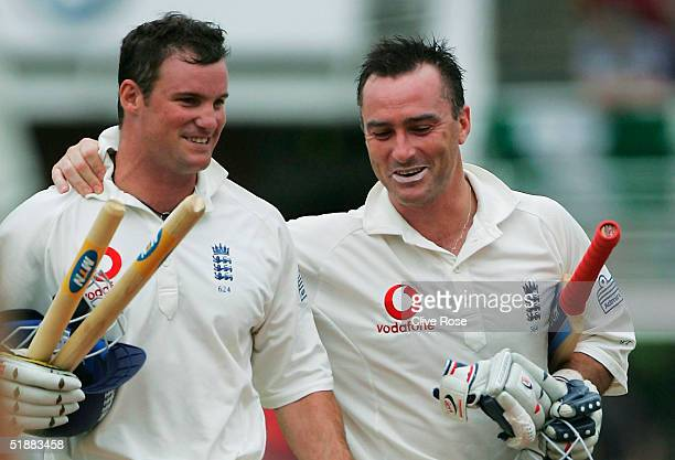 Andrew Strauss and Graham Thorpe of England celebrate as England win the first Test Match between South Africa and England at StGeorges Park on...