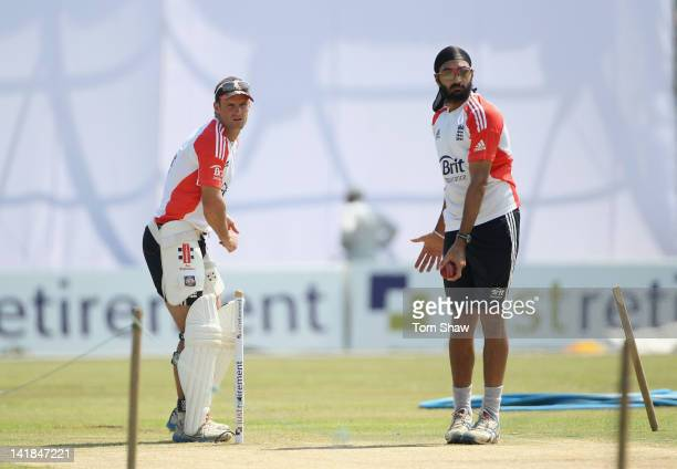 Andrew Strauss and Monty Panesar of Englandlook at the wicket during the England nets session at the Galle International Stadium on March 25 2012 in...