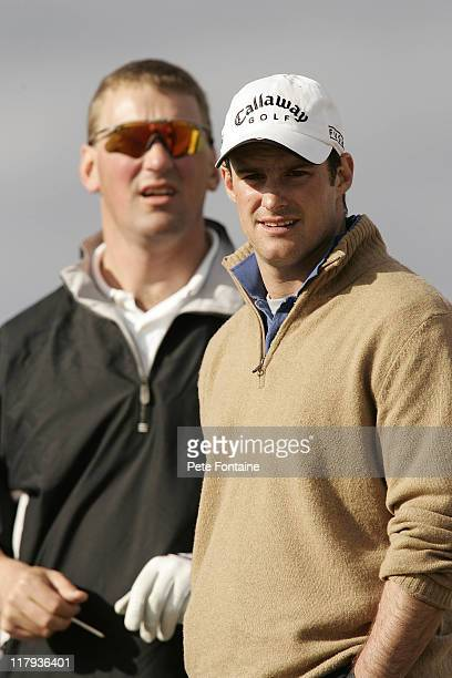 Andrew Strauss and Sir Matthew Pinsent during the first round of the 2005 Dunhill Links Championship at Kingbarns Golf Club September 29 2005