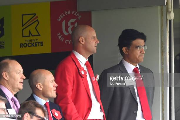 Andrew Strauss and Sourav Ganguly look on on Ruth Strauss Foundation Day during day two of the Second Test Match between England and India at Lord's...