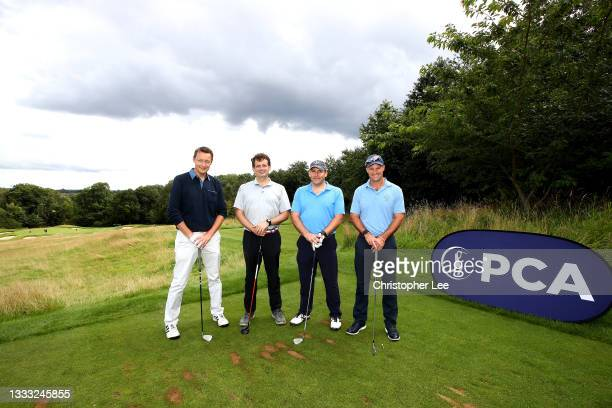 Andrew Strauss and the Royal London team during the PCA England legends Golf Day at The Grove on August 09, 2021 in Watford, England.