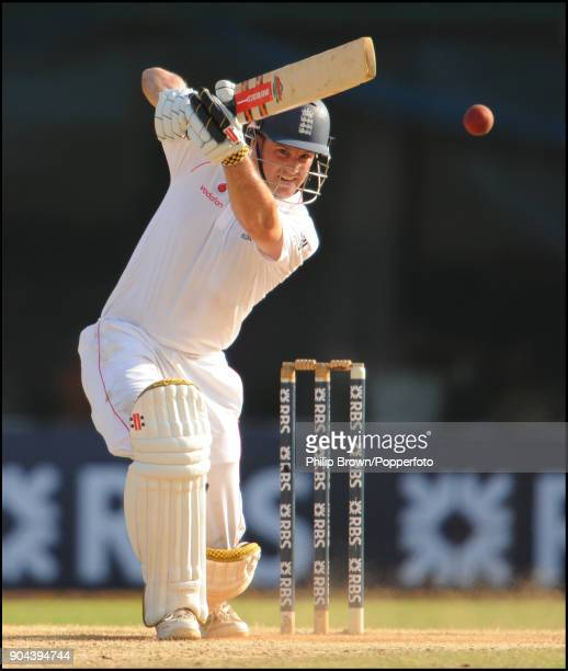 Andrew Strauss batting for England during his innings of 108 in the 1st Test match between India and England at MA Chidambaram Stadium Chennai India...