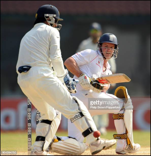 Andrew Strauss batting for England during his innings of 123 in the 1st Test match between India and England at MA Chidambaram Stadium Chennai India...