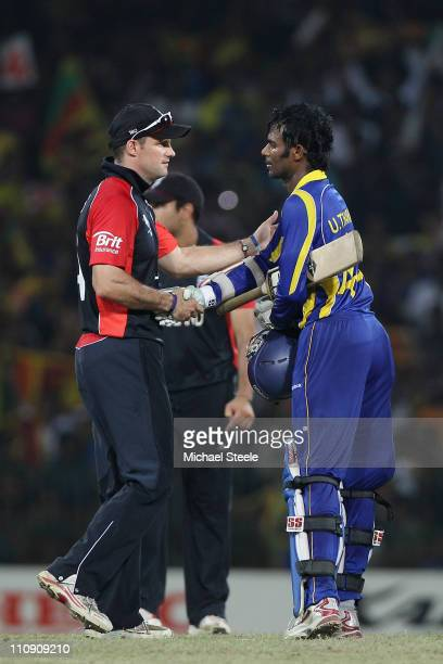Andrew Strauss captain of England shakes hands with Upul Tharanga after Sri Lanka's ten wicket victory during the 2011 ICC World Cup QuarterFinal...
