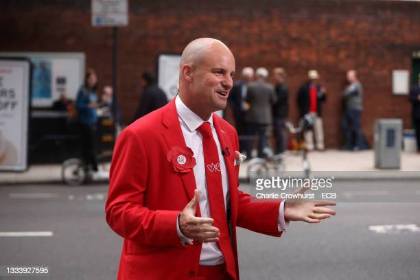 Andrew Strauss chats to media on #RedforRuth day during the Second LV= Insurance Test Match between England and India supporting the Ruth Strauss...