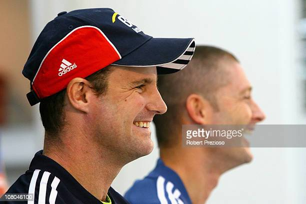 Andrew Strauss England captain and Michael Clarke Australia captain speak during an Australia v England One Day Series Press Conference at Melbourne...