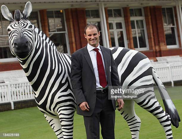Andrew Strauss, England cricket captain, poses by a zebra in front of the Lords pavillion on the day the ECB announced Investec as the new title...