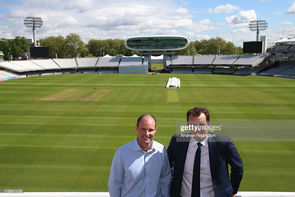 Andrew Strauss, England's new Director Of Cricket, (left) is pictured with Tom Harrison, Chief Executive Officerof the ECB, .during an ECB media opportunity at Lords on May 12, 2015 in London, England.