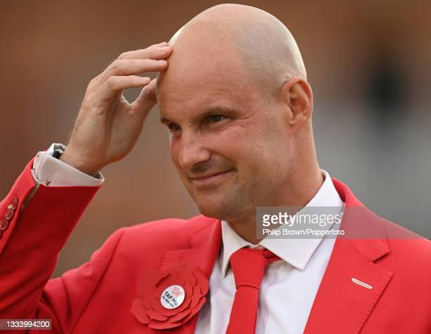 Andrew Strauss looks on after the second day of the 2nd LV= Test match between England and India at Lord's Cricket Ground on August 13, 2021 in...