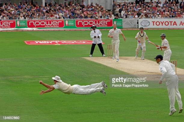 Andrew Strauss makes a remarkable dive to catch Adam Gilchrist off Andrew Flintoff, England v Australia, 4th Test, Trent Bridge, August 2005.