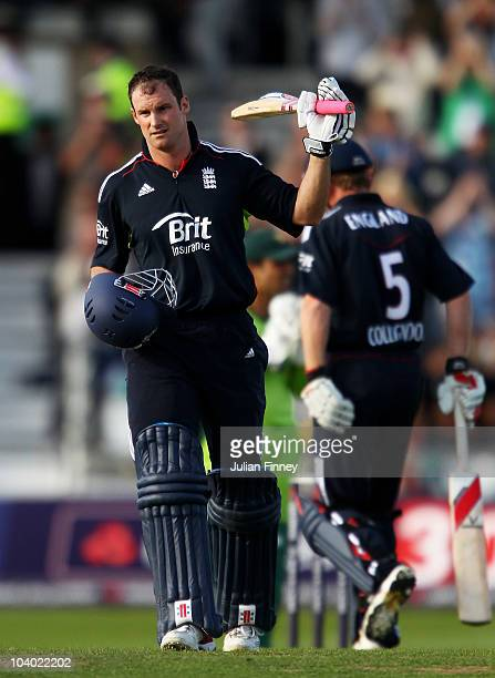 Andrew Strauss of England acknowledges his century during the 2nd NatWest One Day International between England and Pakistan at Headingley Carnegie...