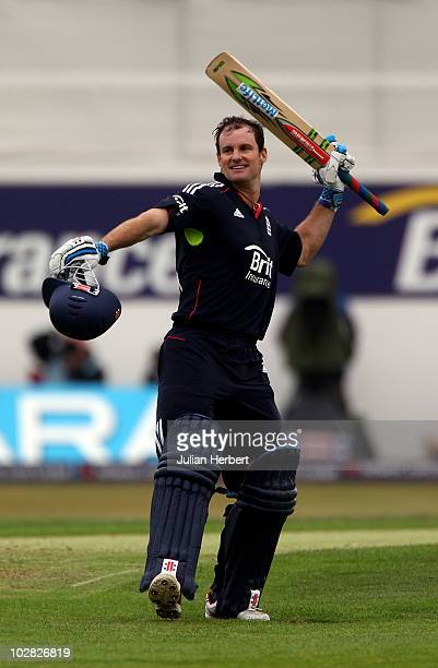 Andrew Strauss of England acknowledges reaching his 100 during the 3rd NatWest One Day International match between England and Bangladesh at...