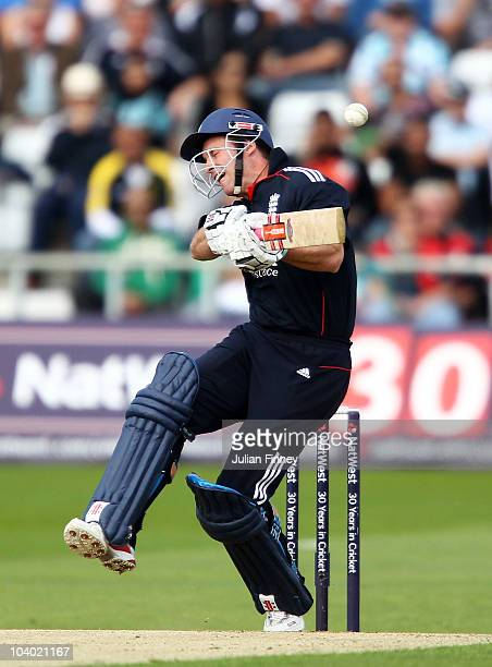Andrew Strauss of England avoids a bouncer during the 2nd NatWest One Day International between England and Pakistan at Headingley Carnegie on...