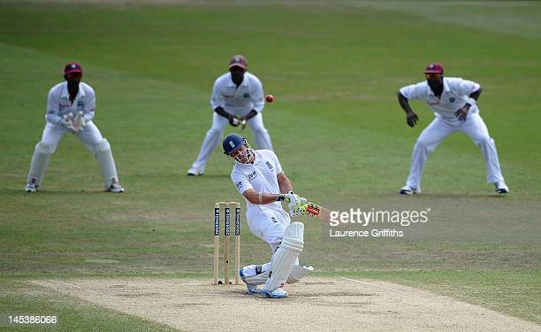 Andrew Strauss of England avoids a bouncer from Kemar Roach of West Indies during the Second Investec Test Match between England and West Indies at...