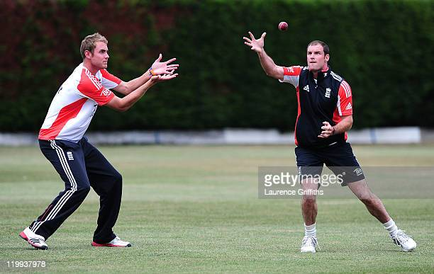 Andrew Strauss of England catches the ball in front of Stuart Broad during Net Practice ahead of the second Test match at The National Cricket...