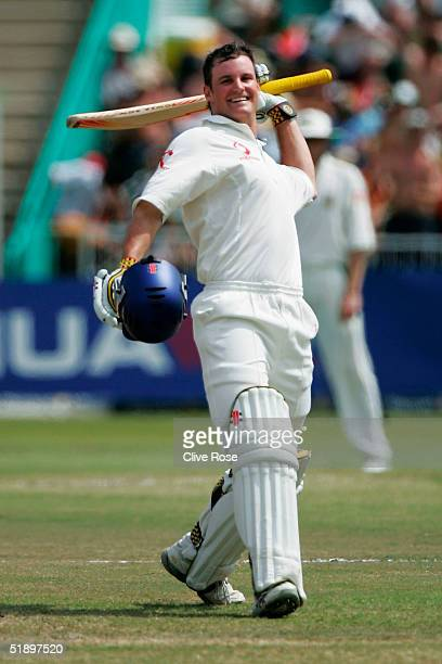 Andrew Strauss of England celebrates his 100 runs during the third day of the second Test Match between South Africa and England at Kingsmead cricket...