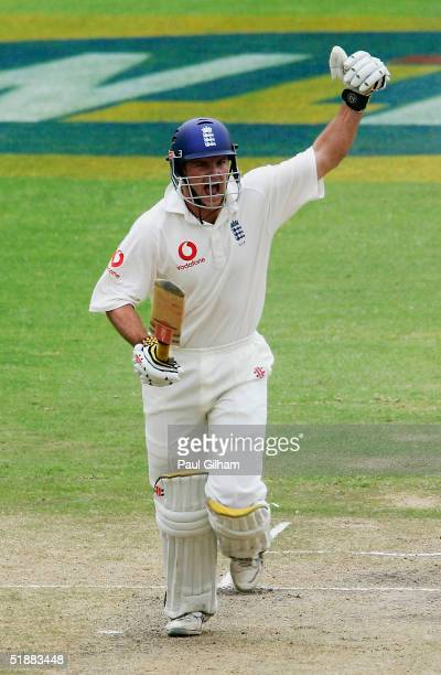 Andrew Strauss of England celebrates scoring the winning runs to give England victory during day five of the first Test Match between South Africa...