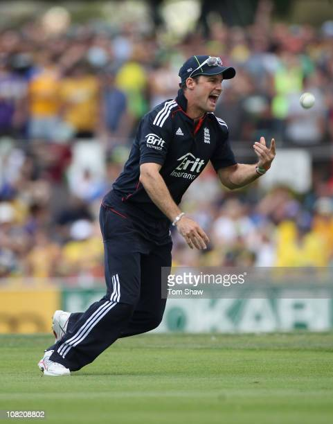Andrew Strauss of England celebrates taking the catch to dismiss David Hussey of Australia during game two of the Commonwealth Bank One Day...