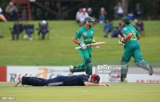 Andrew Strauss of England dives and misses a ball as South Africa add to the runs during the One Day Tour Match between South Africa A and England at...