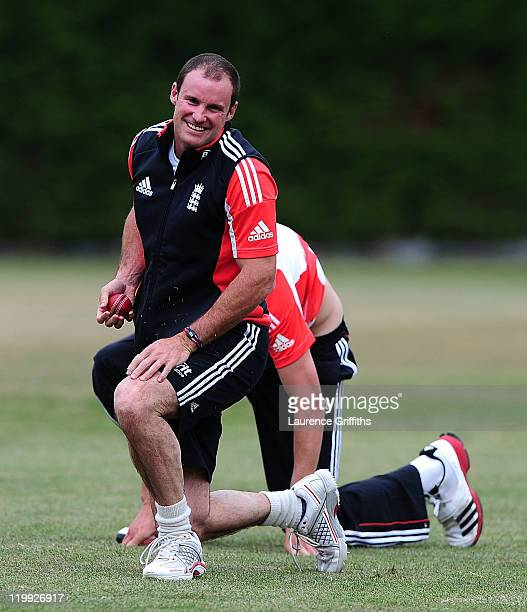 Andrew Strauss of England fumbles the ball in front of Stuart Broad during Net Practice ahead of the second Test match at The National Cricket...
