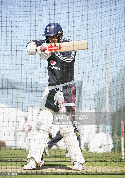 Andrew Strauss of England hits out during a net practice session at The Riverside on May 13 2009 in ChesterleStreet England