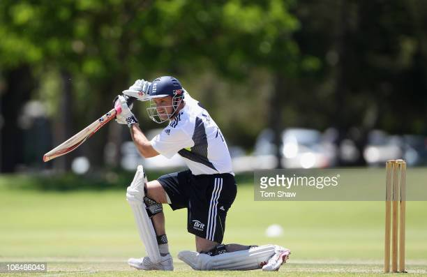 Andrew Strauss of England hits out during an England nets session at Richardson Park on November 3 2010 in Perth Australia