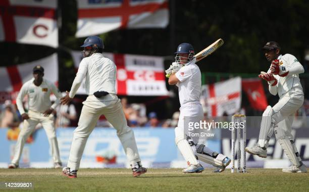 Andrew Strauss of England hits out during day 2 of the 2nd test match between Sri Lanka and England at the P Sara Stadium on April 4 2012 in Colombo...