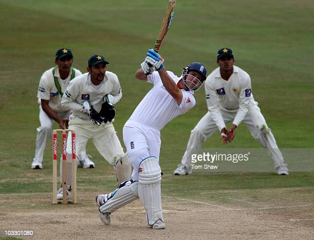 Andrew Strauss of England hits out during day four of the 2nd npower Test Match between England and Pakistan at Edgbaston on August 9, 2010 in...
