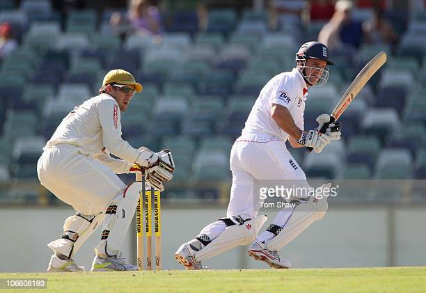 Andrew Strauss of England hits out during day three of the Tour Match between the Western Australia Warriors and England at WACA on November 7, 2010...