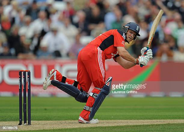 Andrew Strauss of England hits out during the 5th NatWest One Day International match between England and Australia at Trent Bridge on September 15...