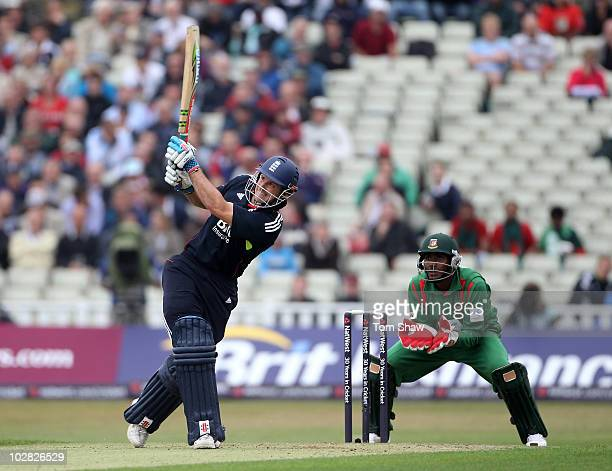 Andrew Strauss of England hits out during the NatWest One Day International match between England and Bangladesh at Edgbaston on July 12 2010 in...