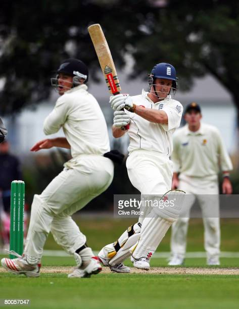 Andrew Strauss of England in action during day two of the warm up match between a New Zealand Invitational XI and England at the University Oval on...