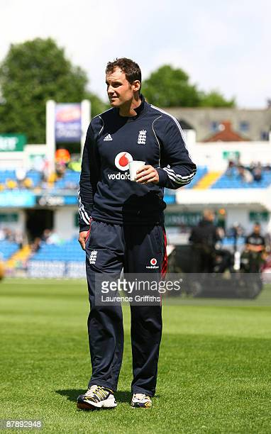 Andrew Strauss of England inspects the outfield duing the Nat West One Day International between England and The West Indies at Headingley on May 21...