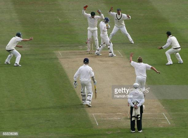 Andrew Strauss of England is bowled by Shane Warne of Australia during day two of the Second npower Ashes Test between England and Australia played...