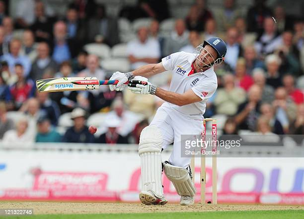 Andrew Strauss of England is hit on the helmet by a delivery from Ishant Sharma of India during day one of the 4th npower Test Match between England...
