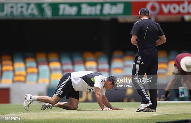Andrew Strauss of England looks at the wicket during the England nets session at The Gabba on November 24 2010 in Brisbane Australia